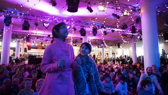 Kids Count Down, two girls in purple light