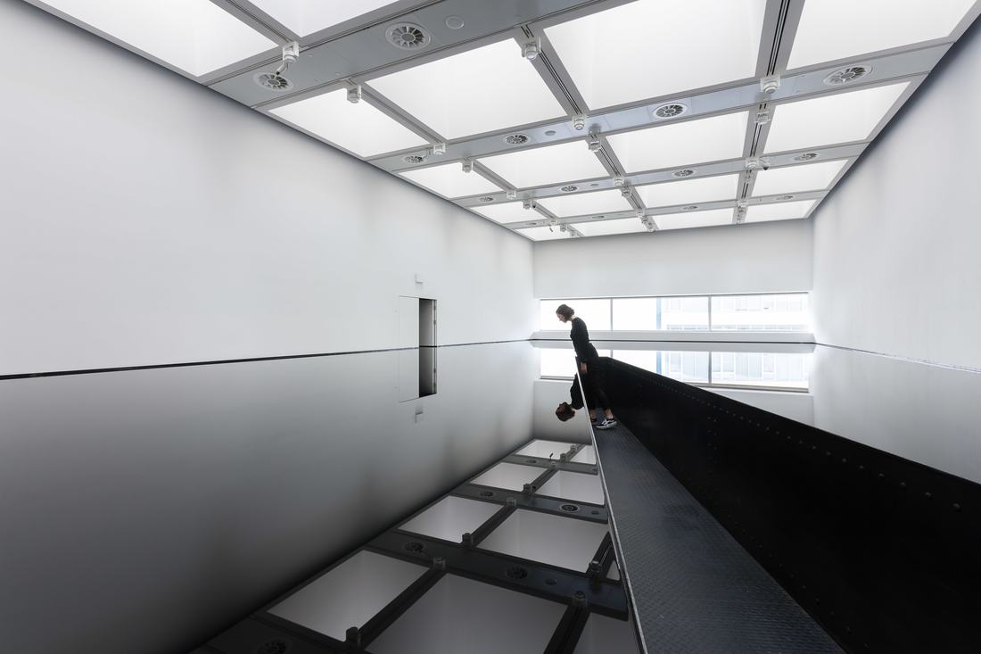 Installation view of Richard Wilson's 20:50 (1987) at Space Shifters, Hayward Gallery 2018