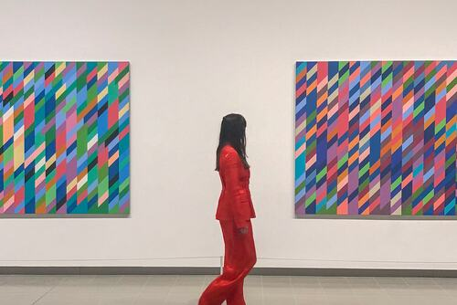 Katy Hessel of The Great Women Artists in Bridget Riley at Hayward Gallery