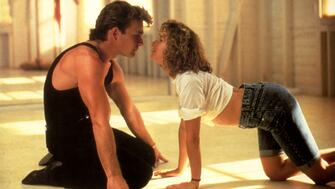 Patrick Swayze and Jennifer Grey in a still from the film Dirty Dancing