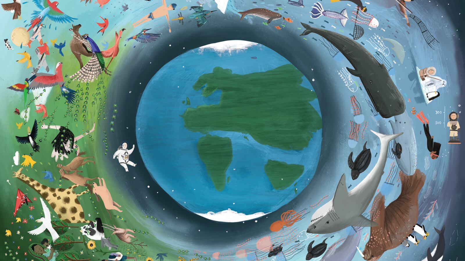An illustration of earth surrounded by nature and animals