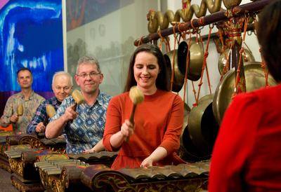 Group of people playing Gamelan