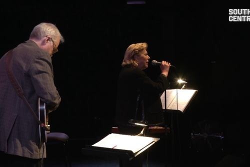 Still from video of Marianne Faithfull and Bill Frisell performing at Yoko Ono's Meltdown, Southbank Centre, 2013