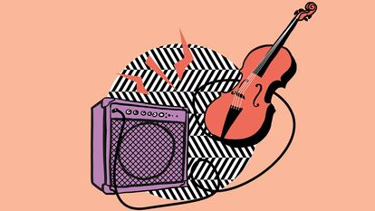 Graphic of a violin and amplifier