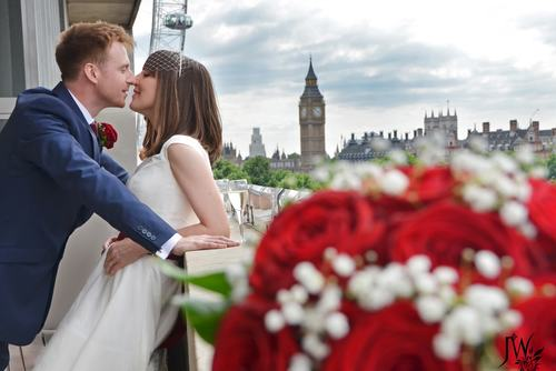 Married Couple, Becky and Olly  kissing on Royal Festival Hall Terrace