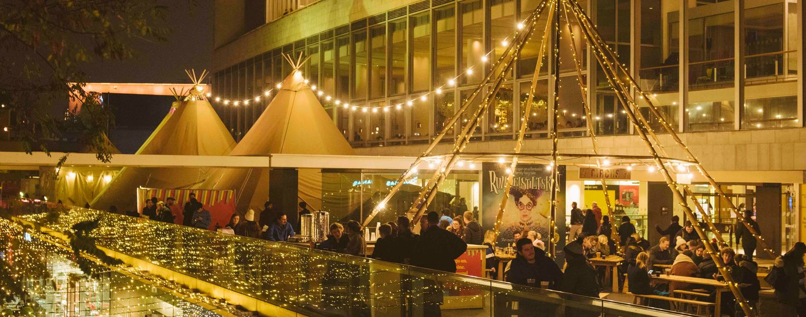 Exterior view of The Circus Bar as part of Winter at Southbank Centre