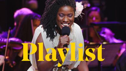 A jazz singer performs on stage at Southbank Centre, behind the word 'playlist'