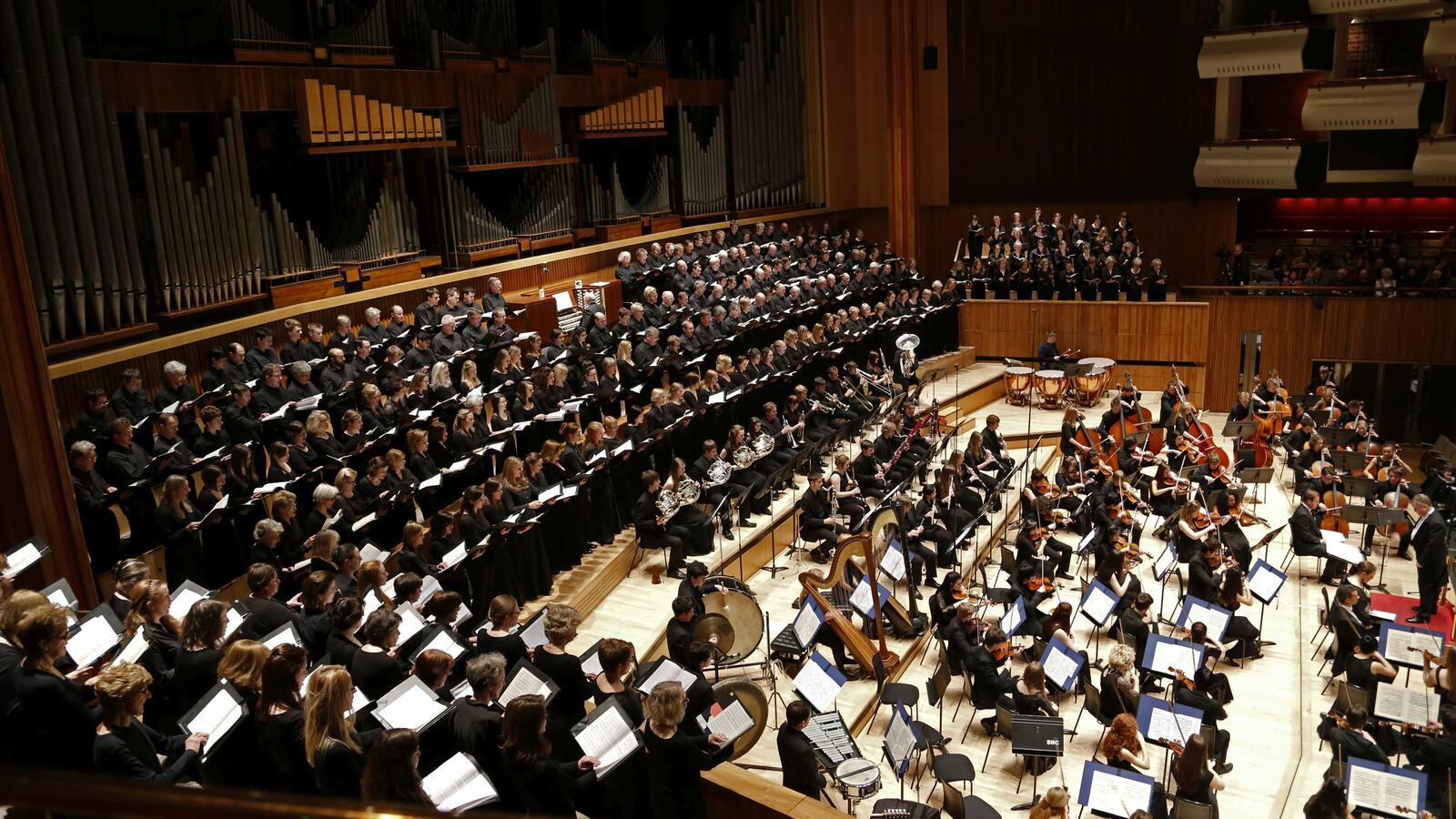 The Bach Choir on stage at Royal Festival Hall