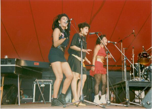 Three singers perform at Pride '87 Carnival at London's South Bank