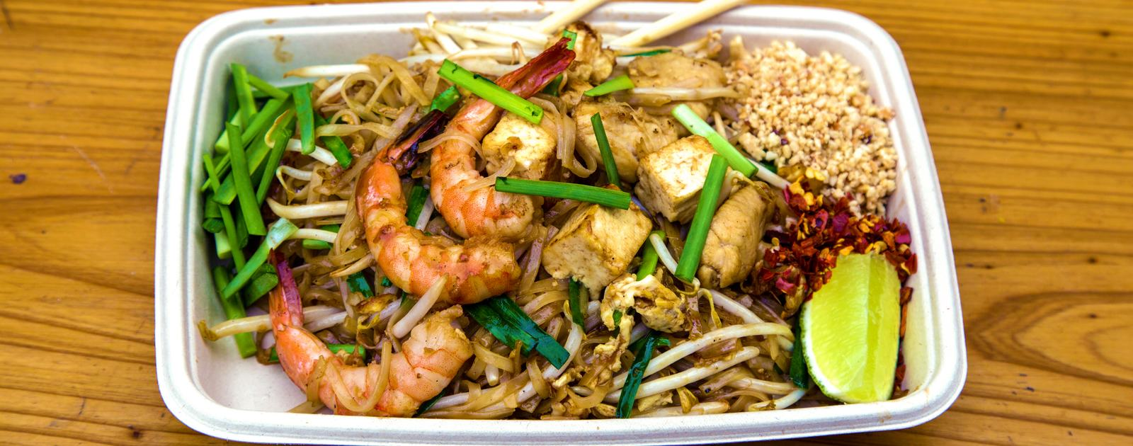Photo of a plate of pad Thai as served by PAD+SEN at Southbank Centre Food Market