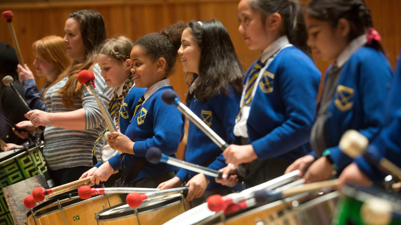 Children playing drums in Royal Festival Hall