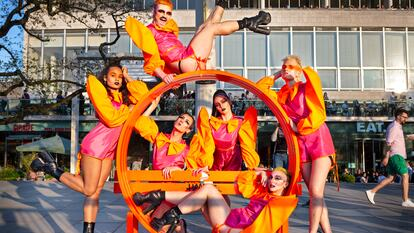 Performers in front of Royal Festival Hall