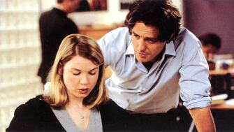 Renee Zellweger and Hugh Grant in a still from Bridget Jones' Diary