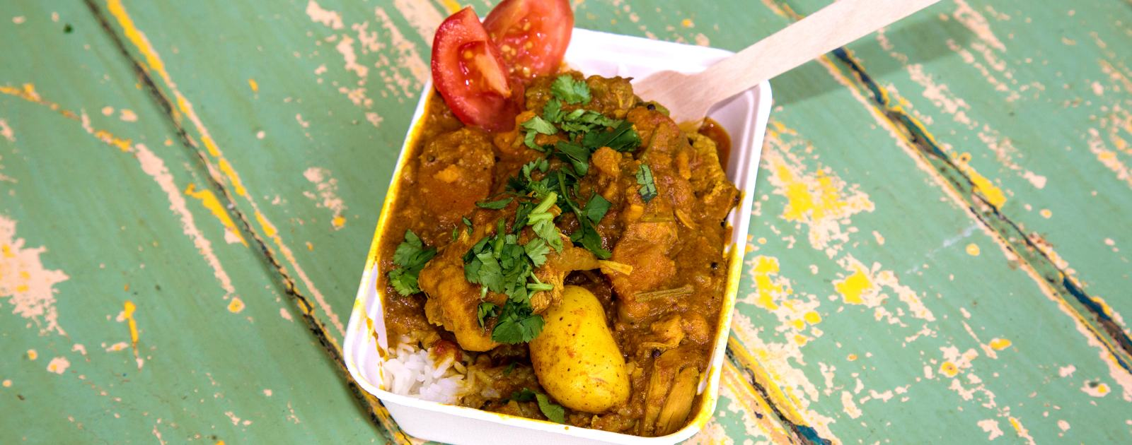 Photo of a chicken curry and rice served by The Curry Shack at Southbank Centre Food Market