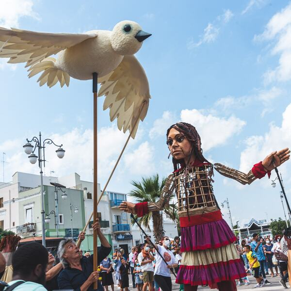 Good Chance Theatre's giant travelling puppet, Little Amal