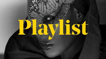A photo of Grace Jones, with the word 'Playlist' placed across it