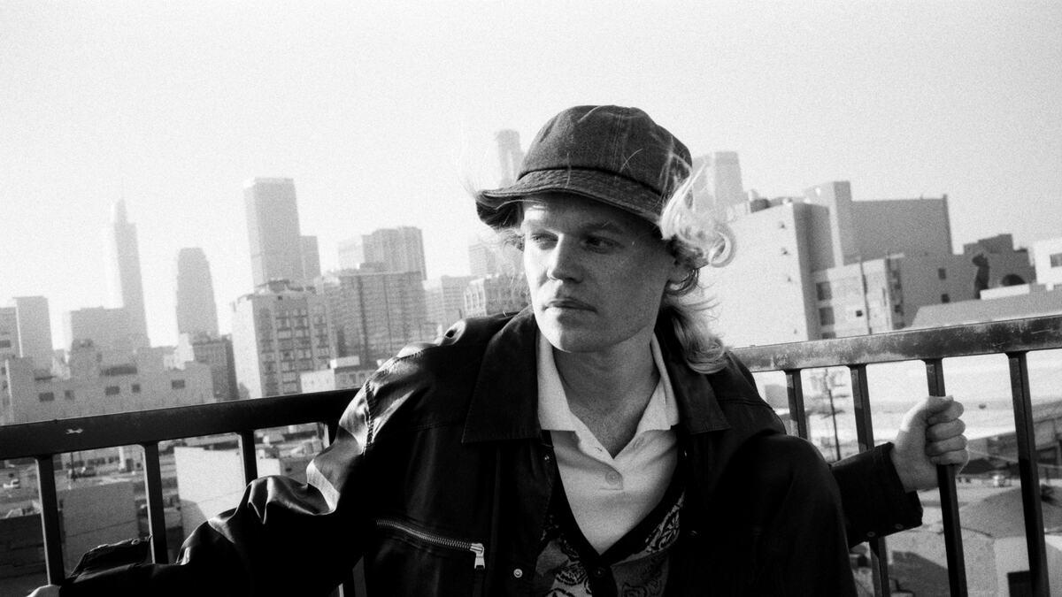 Musician Connan Mockasin, photo taken on a balcony