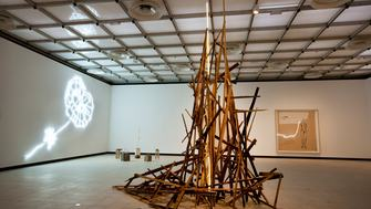 Installation with wood titled Showing Salem by Tracey Emin at Hayward Gallery