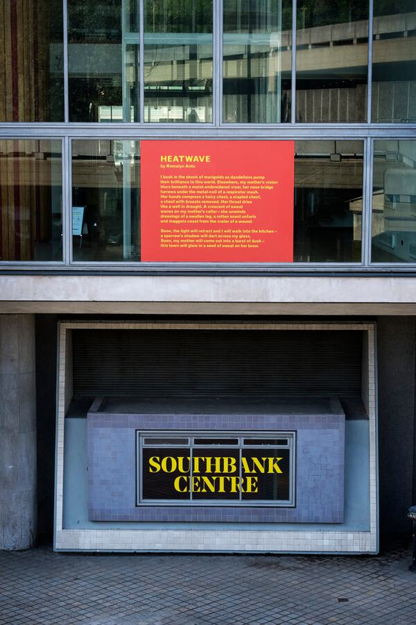Installation view of Romalyn Ante's 'Heatwave' at Southbank Centre's Everyday Heroes, on until 7 November 2020. Copyright the artist. Photo credit_ Linda Nylind