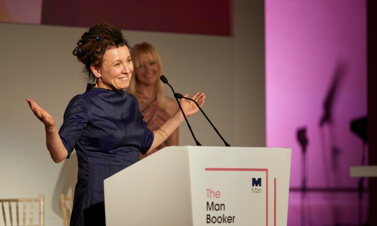 Olga Tokarczuk at the Man Booker podium