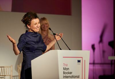 Olga Tokarczuk at the Man Booker podium