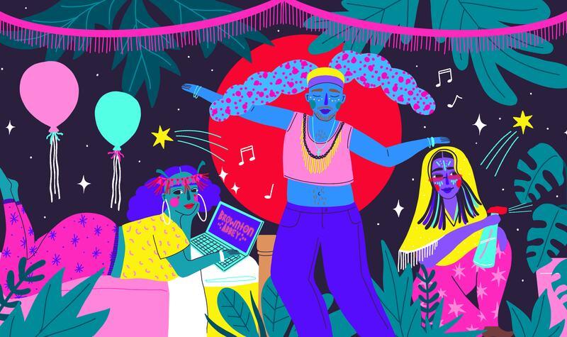 Illustration of Afro-futurist party