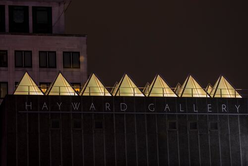 David Batchelor's Sixty Minute Spectrum installation at Hayward Gallery viewed close up