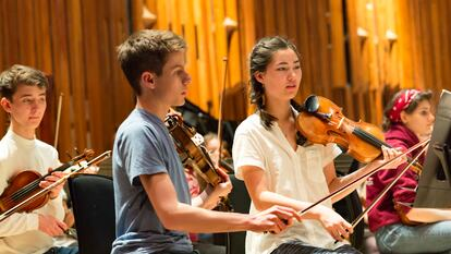 Young musicians in an orchestra