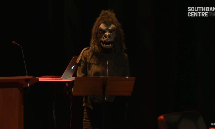 Still from video of Guerrilla Girls: Estrogen Bombing session at Yoko Ono's Meltdown, 2013