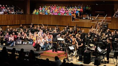 National Youth Orchestra on stage at Royal Festival Hall, Southbank Centre