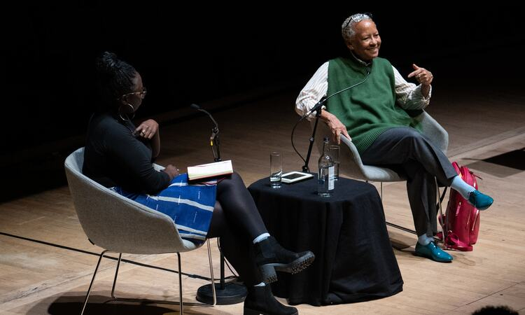 Nikki Giovanni on stage at Southbank Centre in discussion with Bridget Minamore