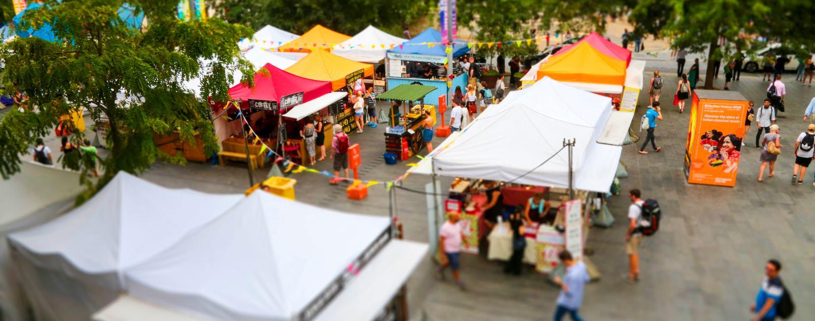 Southbank Centre Food Market.Aerial Tilt Shift Views.August 2016