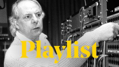 Karlheinz Stockhausen at work with an electrical synthesiser, the word 'playlist' is displayed across the top of the image