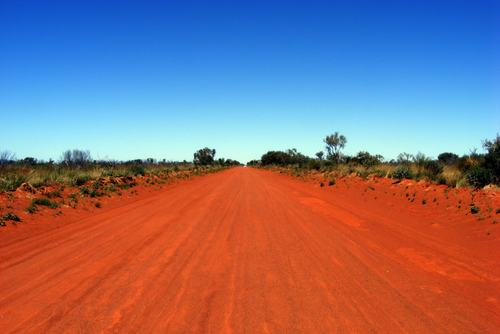 Wide shot of a red road