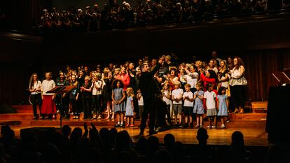 Singing Our Lives, young choir on stage
