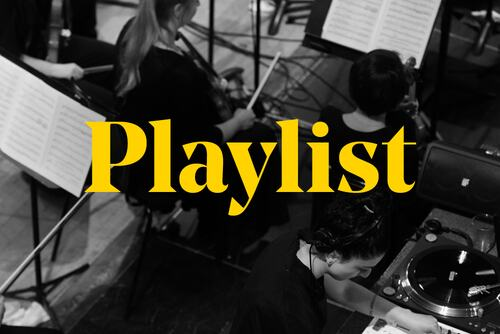 Graphic for Southbank Centre playlists featuring an image of violin players next to synth players