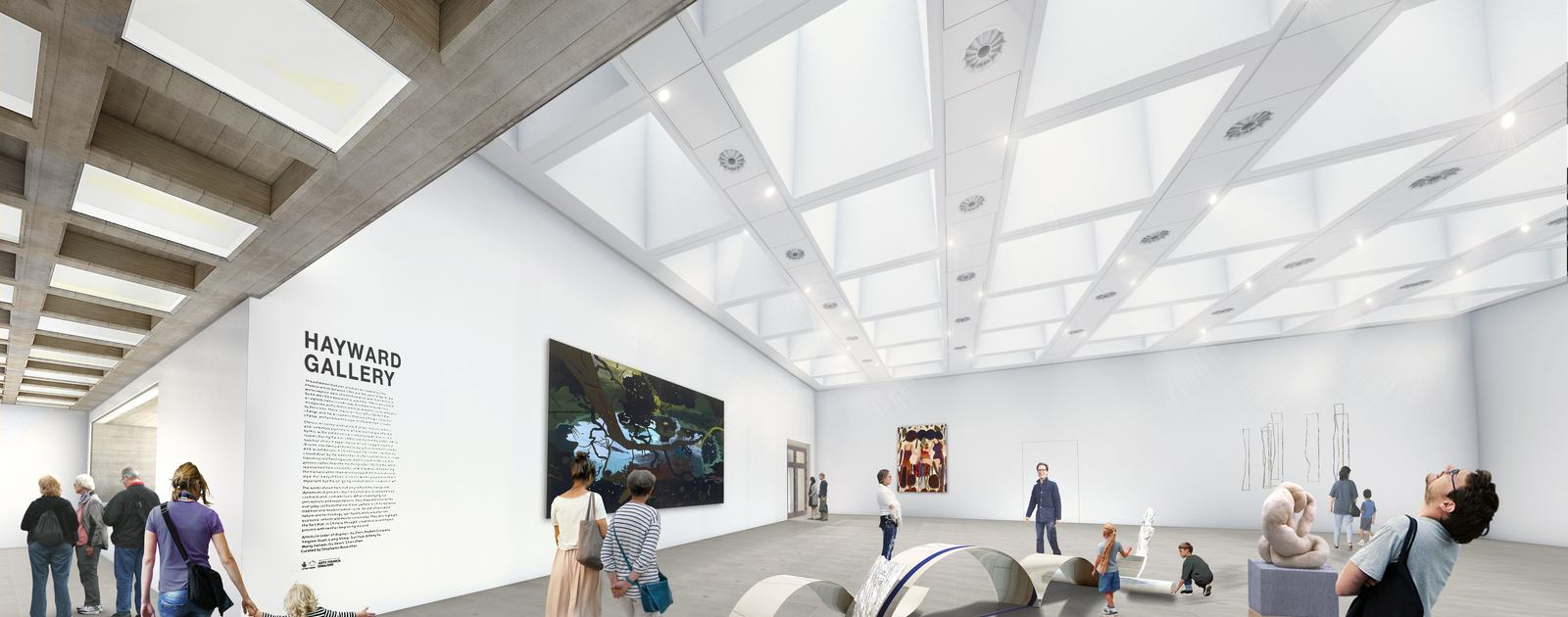 Artist's impression of the Hayward Gallery when it reopens in 2018 with new roof lights
