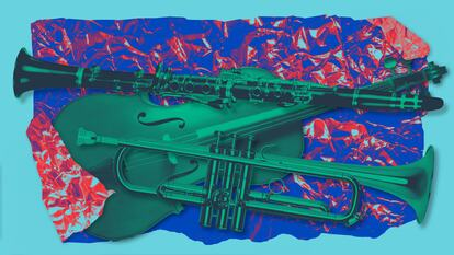 Musical instruments in opened wrapping paper