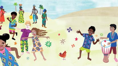 Illustration for the event This is the Drum, showing children in bright clothes dancing in the sand while a boy plays a kettle drum