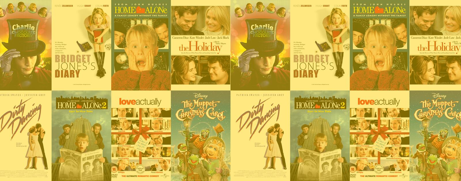 A montage of film posters for Bridget Jones' Diary, Home Alone, Love Actually, Charlie and the Chocolate Factory, Home Alone 2, The Holiday, The Muppet Christmas Carol, Dirty Dancing