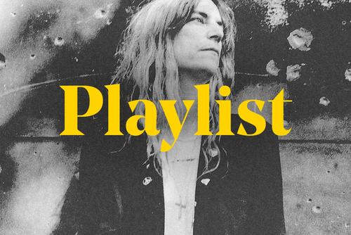 Graphic for Playlist of artists from Patti Smith's Meltdown festival, featuring Patti Smith and the word playlist