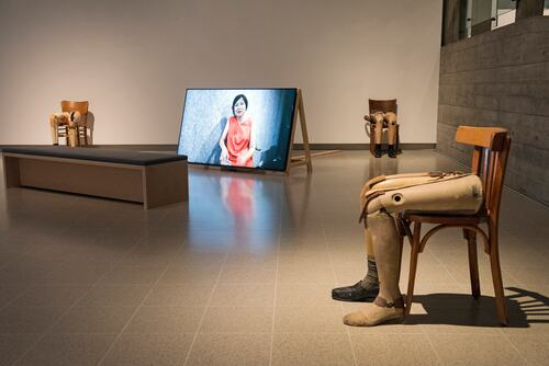 Installation view of Shifting Borders by Kader Attia in the exhibition The Museum of Emotion at Hayward Gallery