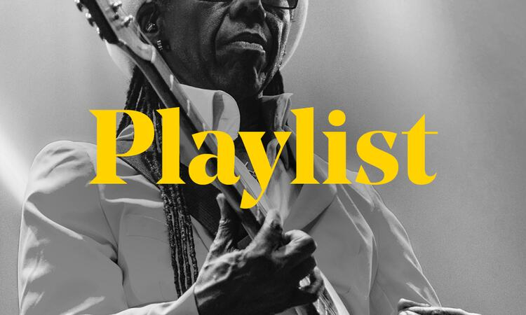 Nile Rodgers plays guitar behind the word 'Playlist'