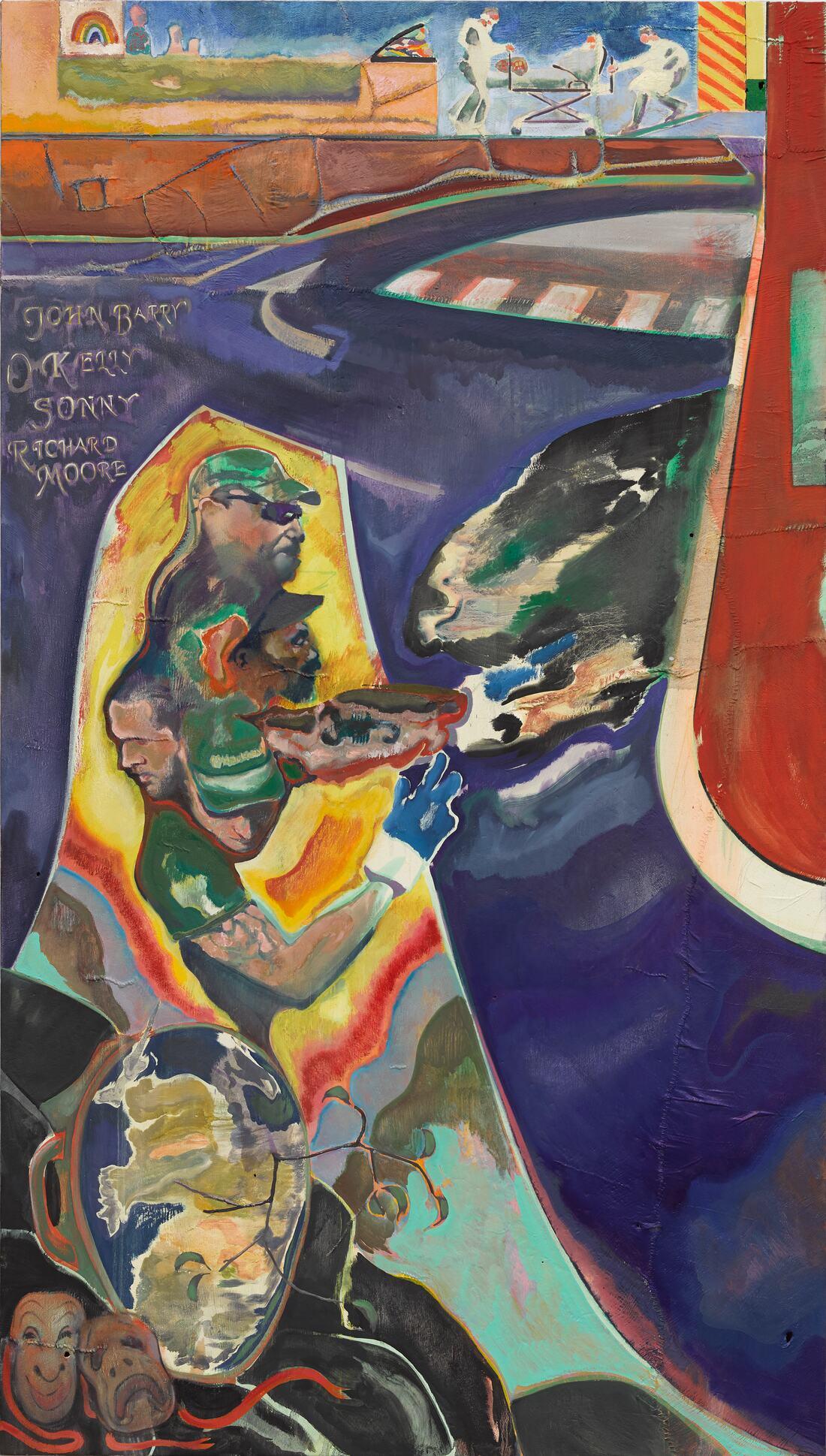 Everyday Heroes: Michael Armitage, John Barry, O Kelly, Sonny and Richard Moore, 2020. Oil on Lubugo bark cloth. Copyright the artist.