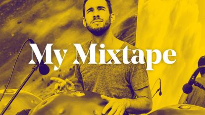 Manu Delago seated at percussion beneath text overlay stating My Mixtape