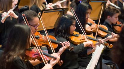English Schools' Orchestra Gala Orchestra, young musicians playing