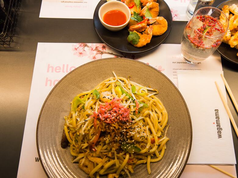 Photograph of a plate of yaki soba noodles at the Japanese restaurant Wagamama at Royal Festival Hall Southbank Centre