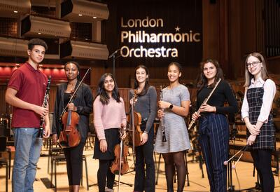 Young musicians in Royal Festival Hall