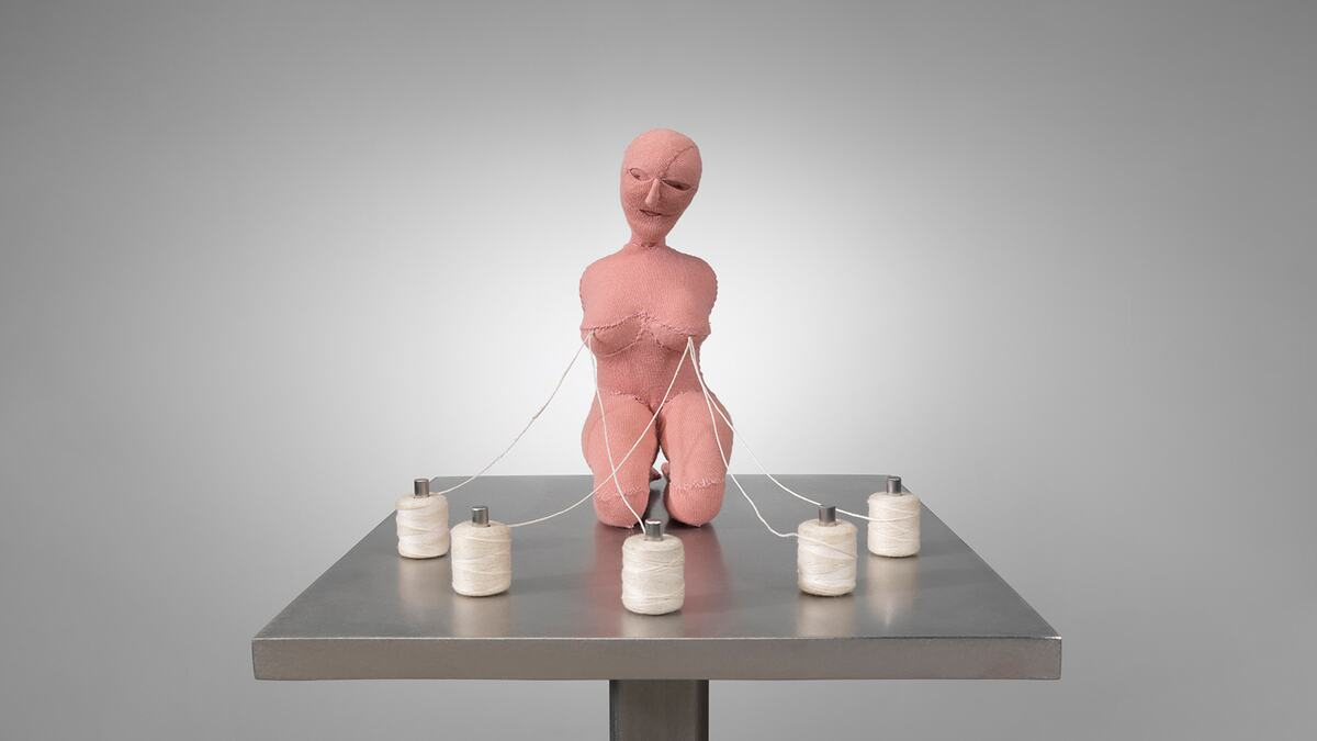 Louise Bourgeois, The Good Mother, 2003.  Fabric, thread, stainless steel, wood and glass. 109.2 x 45.7 x 38.1 cm.  © The Easton Foundation/Licensed by DACS, UK, Photo: Christopher Burke.