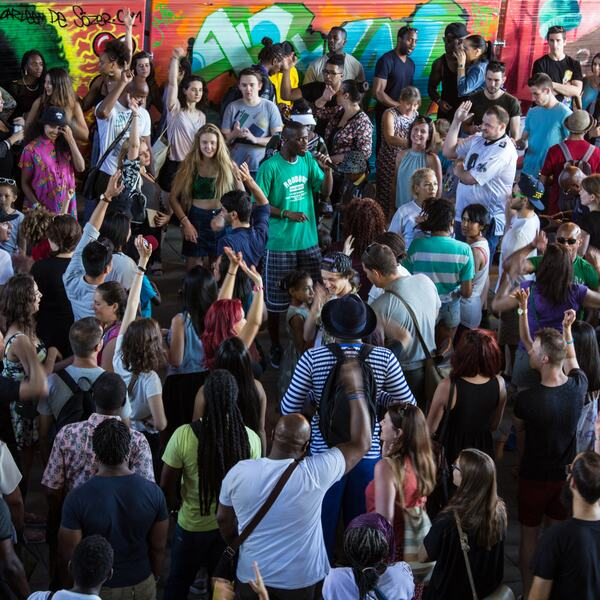 Photo of revellers at The Bridge, Southbank Centre